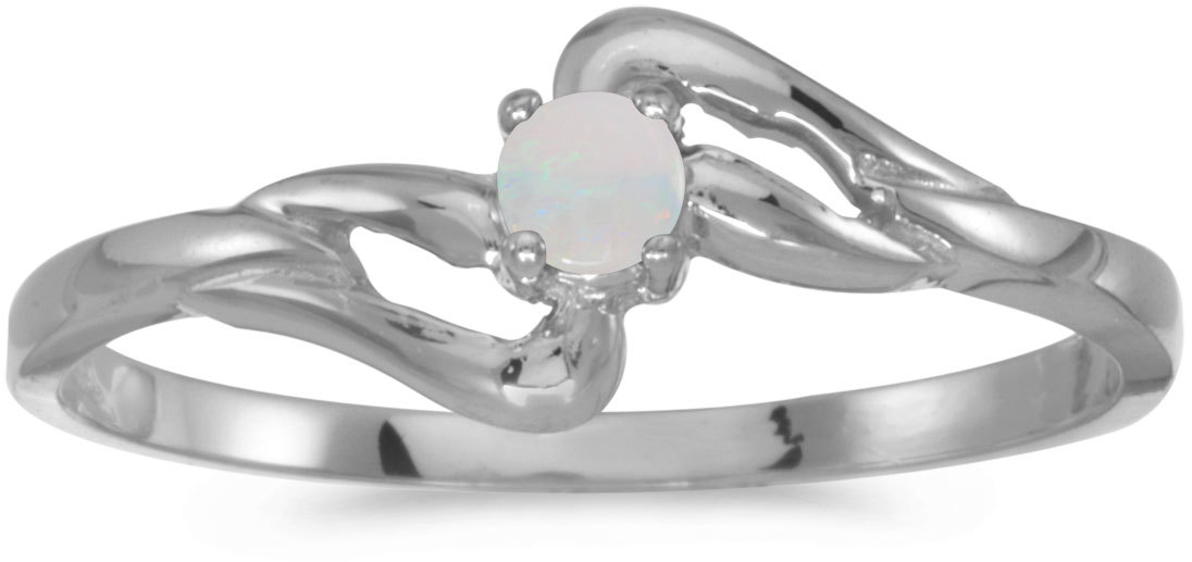 14k White Gold Round Opal Ring (CM-RM1039XW-10)