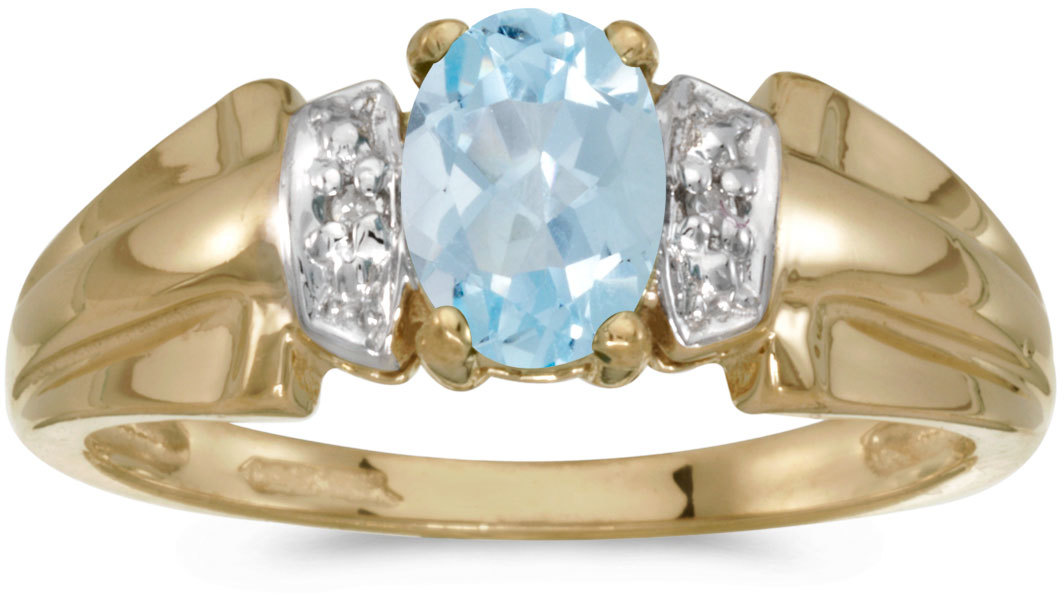 10k Yellow Gold Oval Aquamarine And Diamond Ring (CM-RM1041-03)