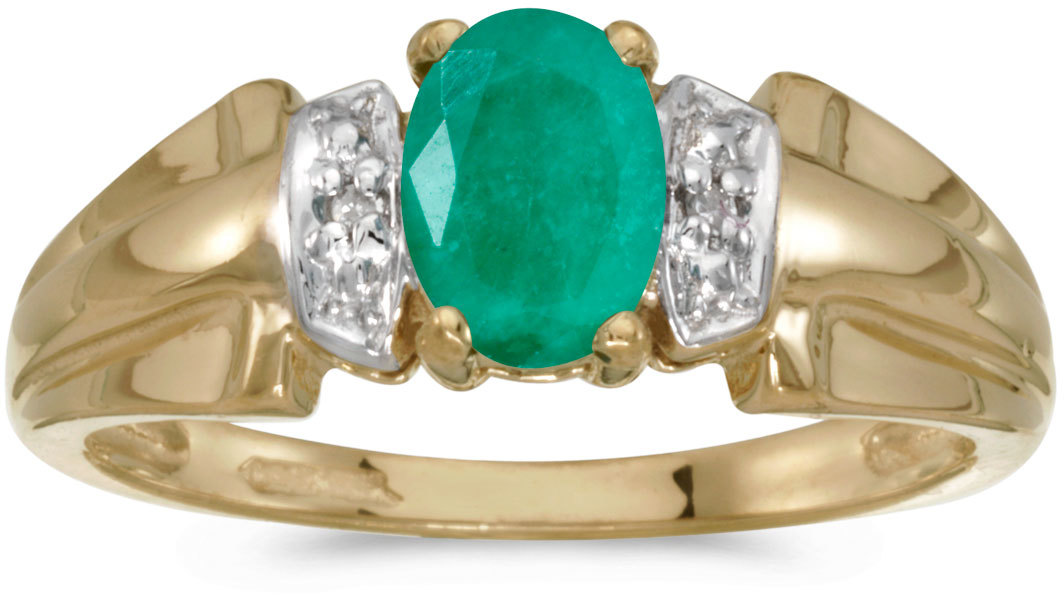 10k Yellow Gold Oval Emerald And Diamond Ring (CM-RM1041-05)