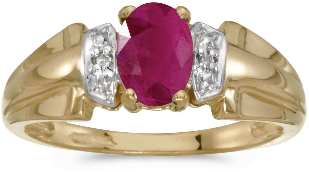 10k Yellow Gold Oval Ruby And Diamond Ring (CM-RM1041-07)