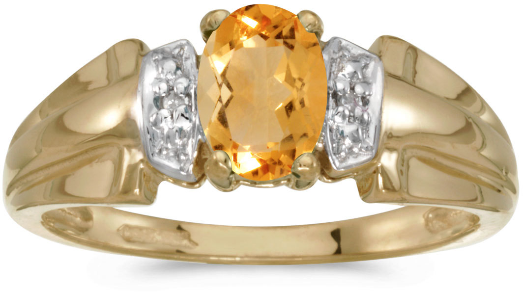 10k Yellow Gold Oval Citrine And Diamond Ring (CM-RM1041-11)