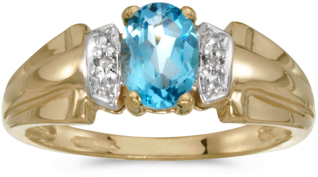 10k Yellow Gold Oval Blue Topaz And Diamond Ring (CM-RM1041-12)