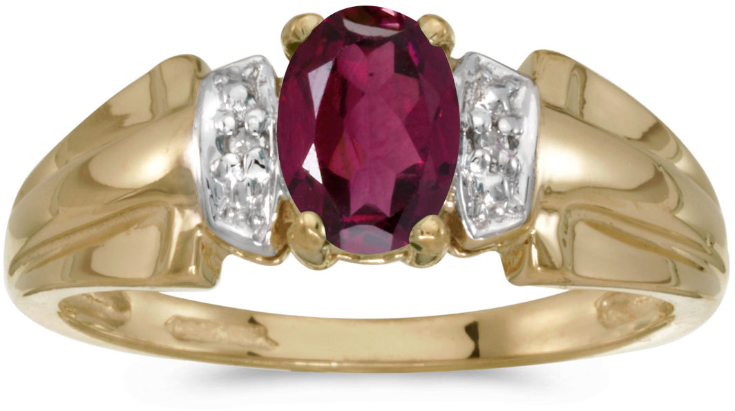 10k Yellow Gold Oval Rhodolite Garnet And Diamond Ring (CM-RM1041-RG)
