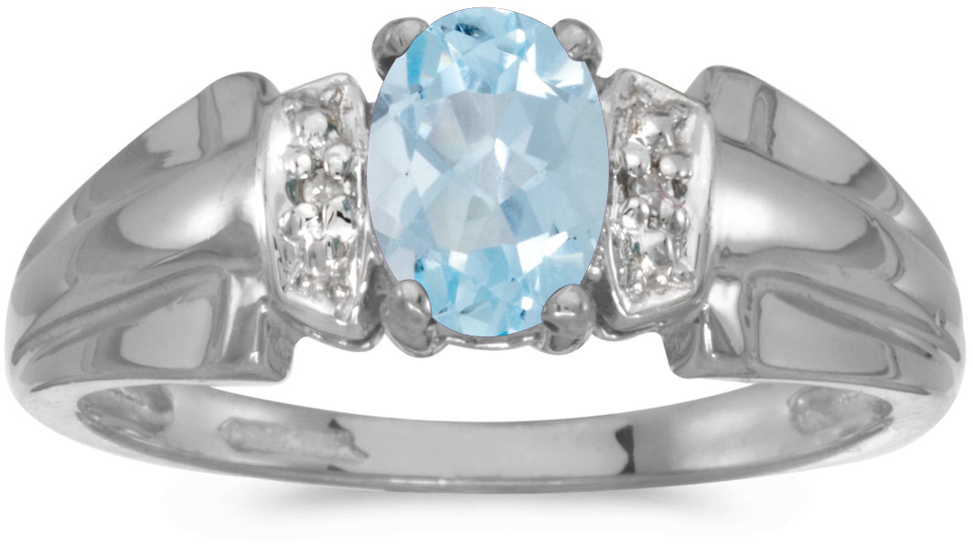 10k White Gold Oval Aquamarine And Diamond Ring (CM-RM1041W-03)