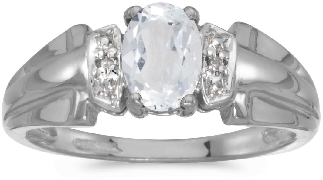 10k White Gold Oval White Topaz And Diamond Ring (CM-RM1041W-04)
