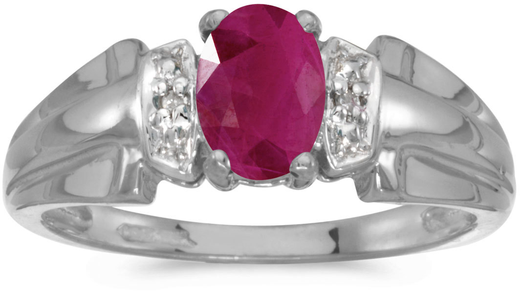 10k White Gold Oval Ruby And Diamond Ring (CM-RM1041W-07)