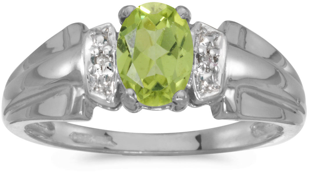 10k White Gold Oval Peridot And Diamond Ring (CM-RM1041W-08)