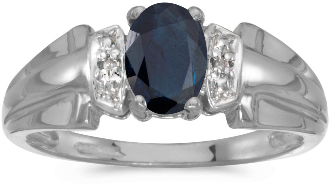 10k White Gold Oval Sapphire And Diamond Ring (CM-RM1041W-09)