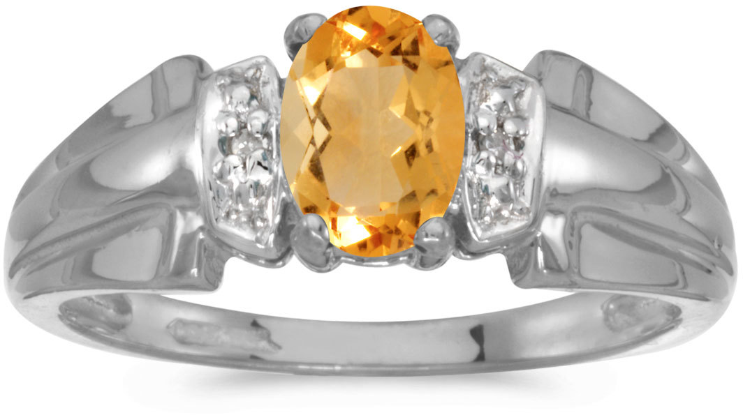 10k White Gold Oval Citrine And Diamond Ring (CM-RM1041W-11)