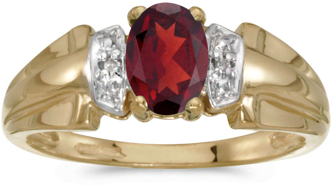 14k Yellow Gold Oval Garnet And Diamond Ring (CM-RM1041X-01)