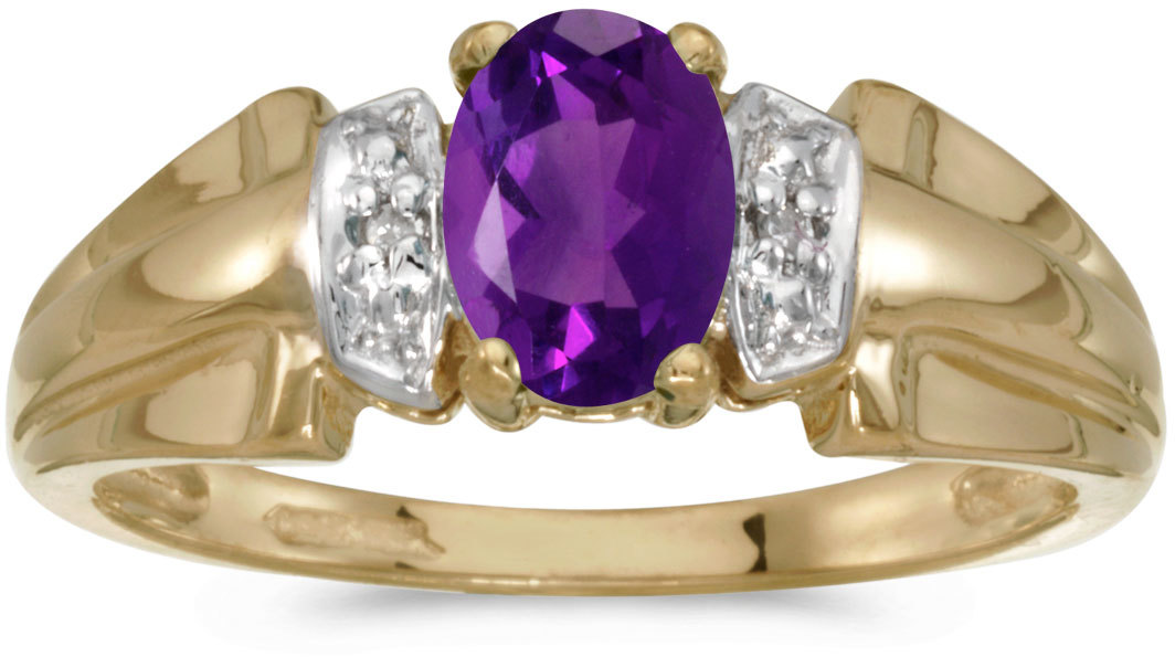 14k Yellow Gold Oval Amethyst And Diamond Ring (CM-RM1041X-02)