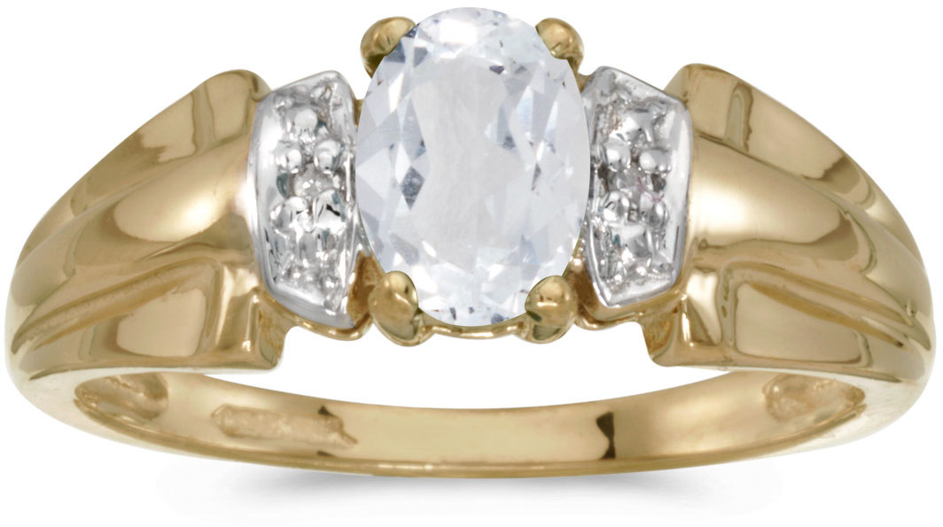 14k Yellow Gold Oval White Topaz And Diamond Ring (CM-RM1041X-04)