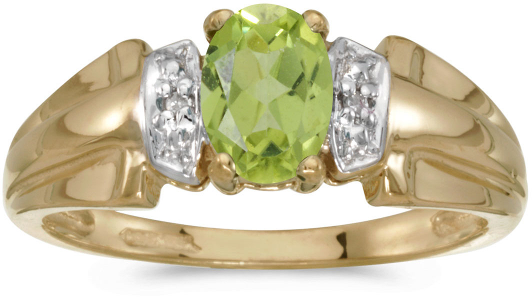 14k Yellow Gold Oval Peridot And Diamond Ring (CM-RM1041X-08)