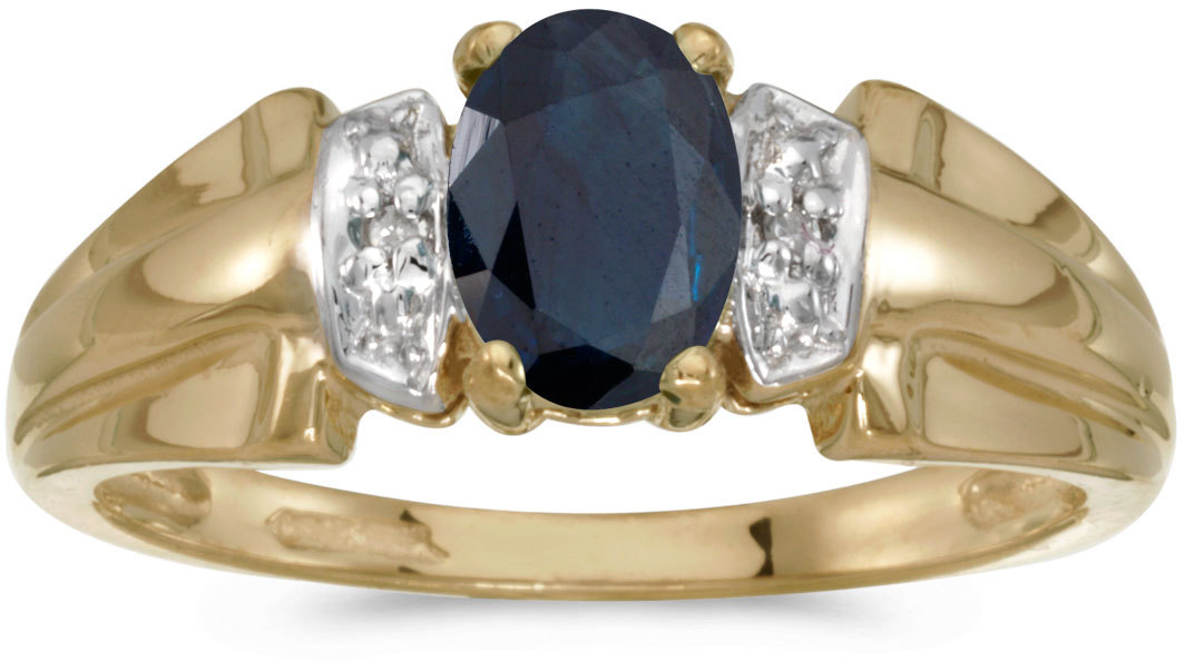 14k Yellow Gold Oval Sapphire And Diamond Ring (CM-RM1041X-09)