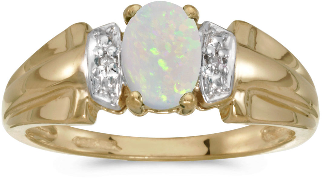 14k Yellow Gold Oval Opal And Diamond Ring (CM-RM1041X-10)
