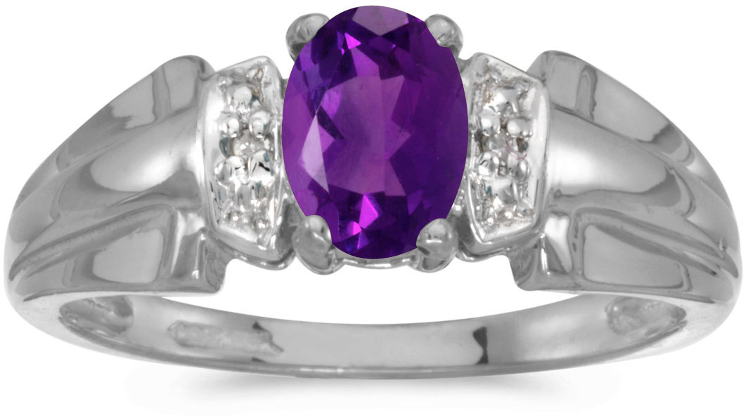 14k White Gold Oval Amethyst And Diamond Ring (CM-RM1041XW-02)