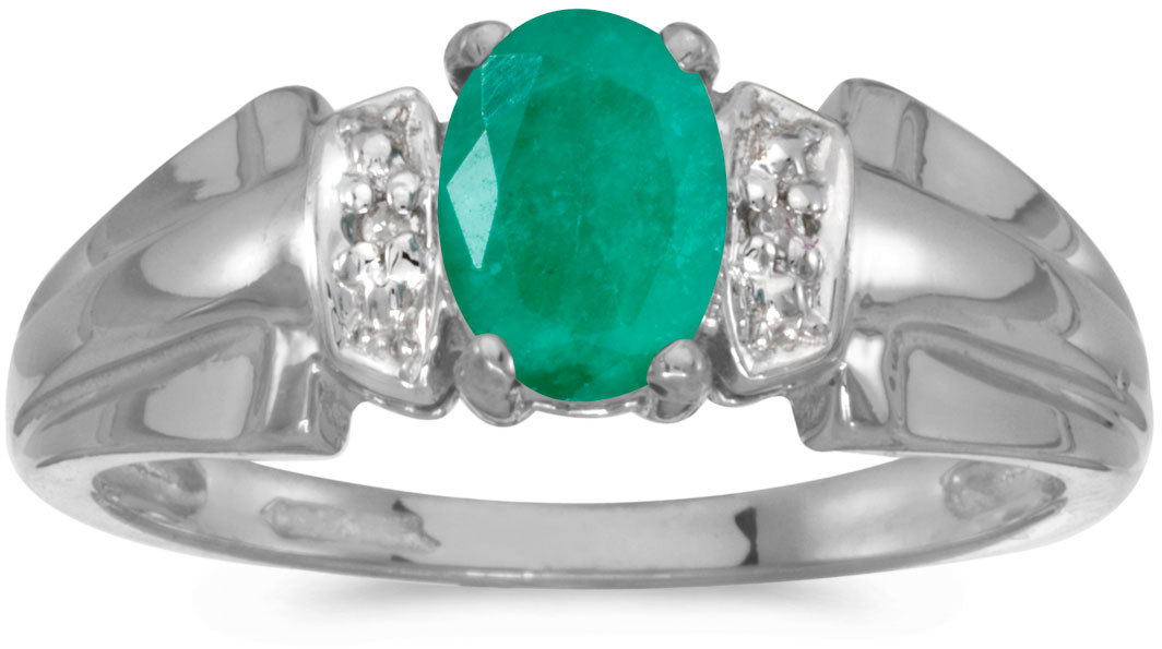 14k White Gold Oval Emerald And Diamond Ring (CM-RM1041XW-05)