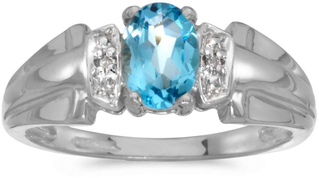 14k White Gold Oval Blue Topaz And Diamond Ring (CM-RM1041XW-12)