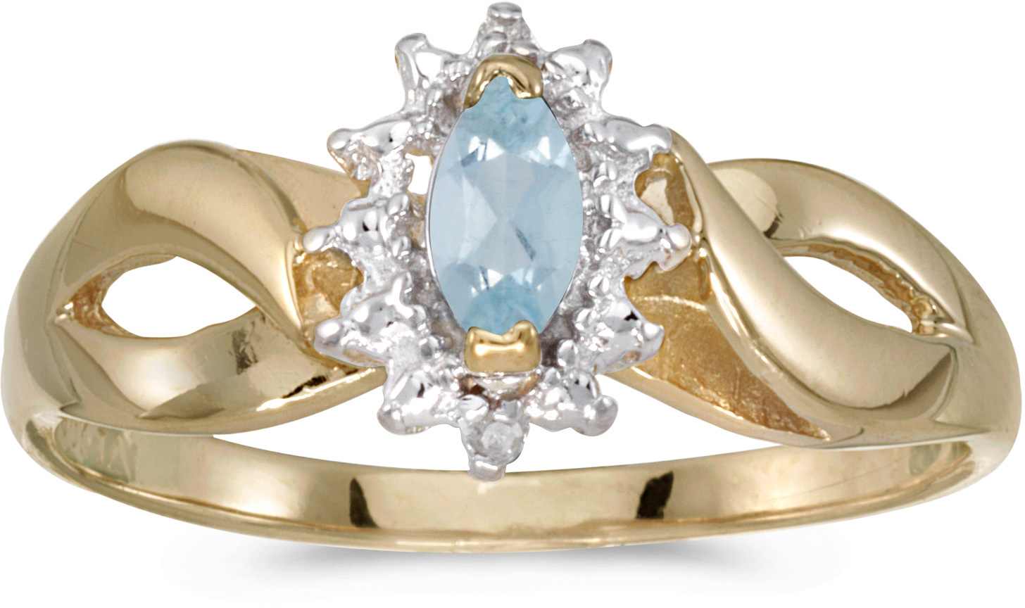 10k Yellow Gold Marquise Aquamarine And Diamond Ring (CM-RM1050-03)