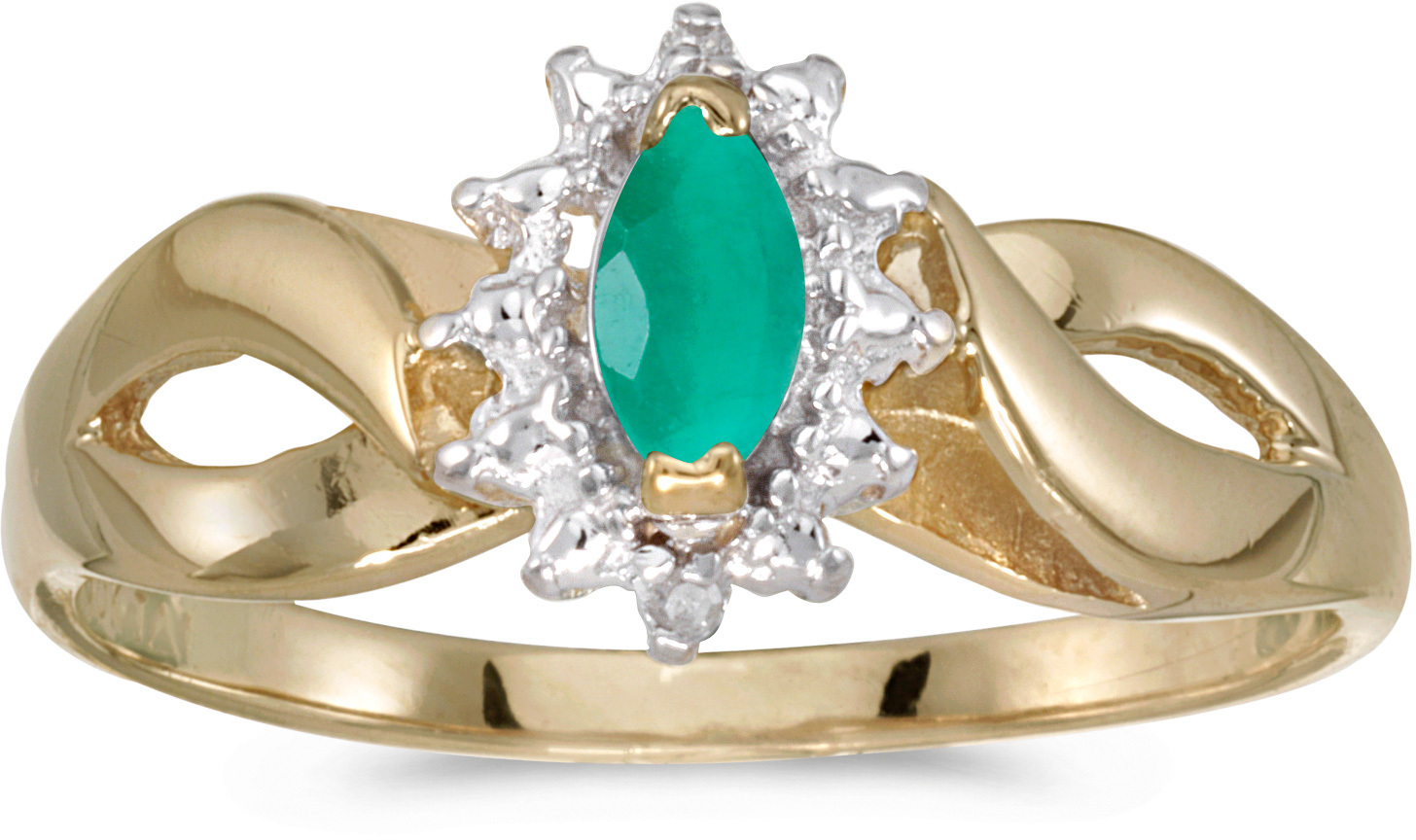 10k Yellow Gold Marquise Emerald And Diamond Ring (CM-RM1050-05)