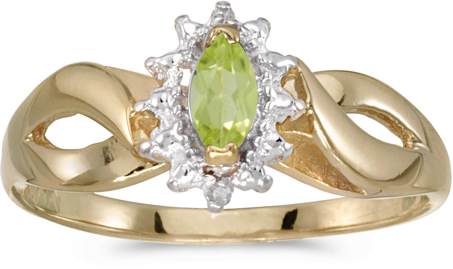 10k Yellow Gold Marquise Peridot And Diamond Ring (CM-RM1050-08)