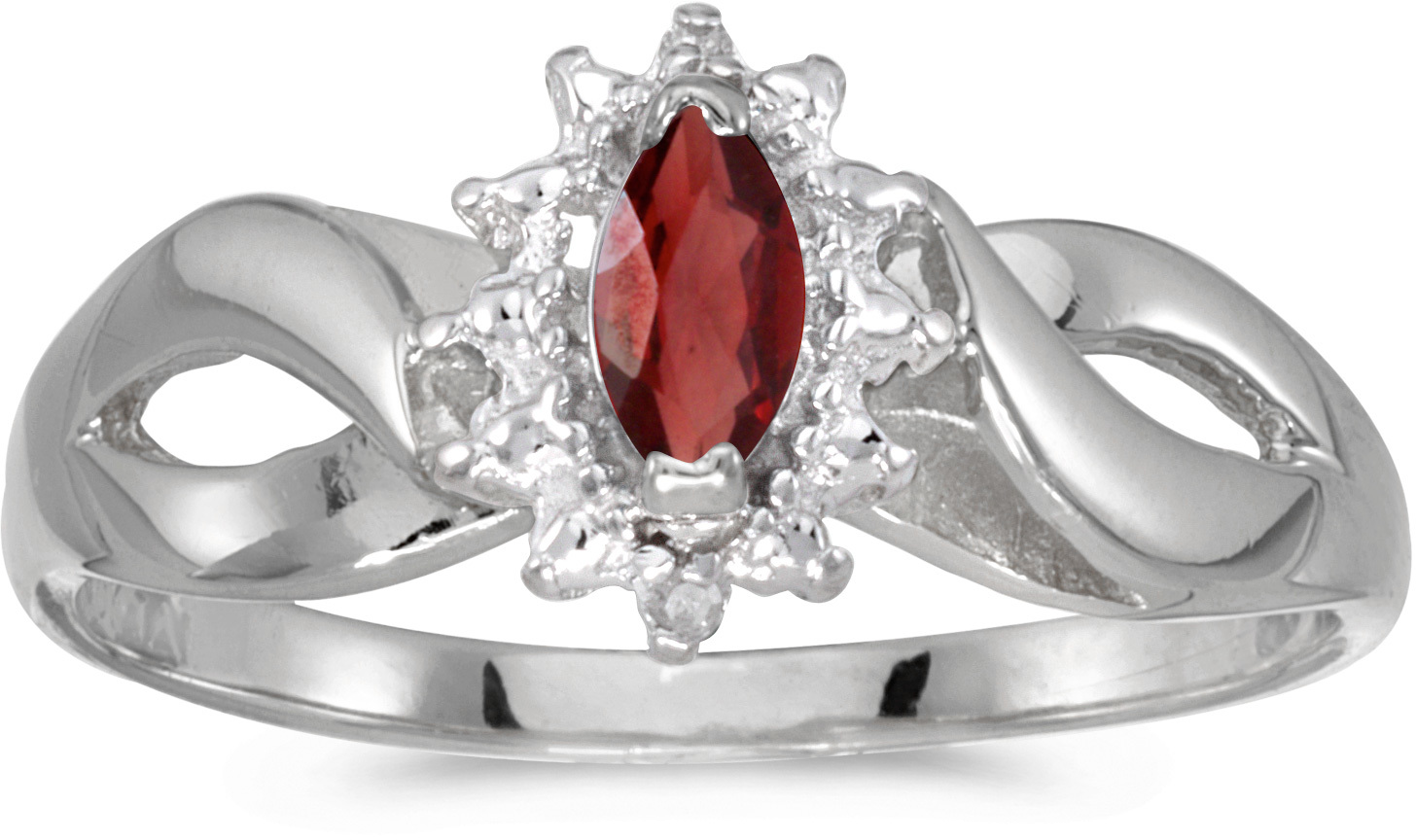 10k White Gold Marquise Garnet And Diamond Ring (CM-RM1050W-01)
