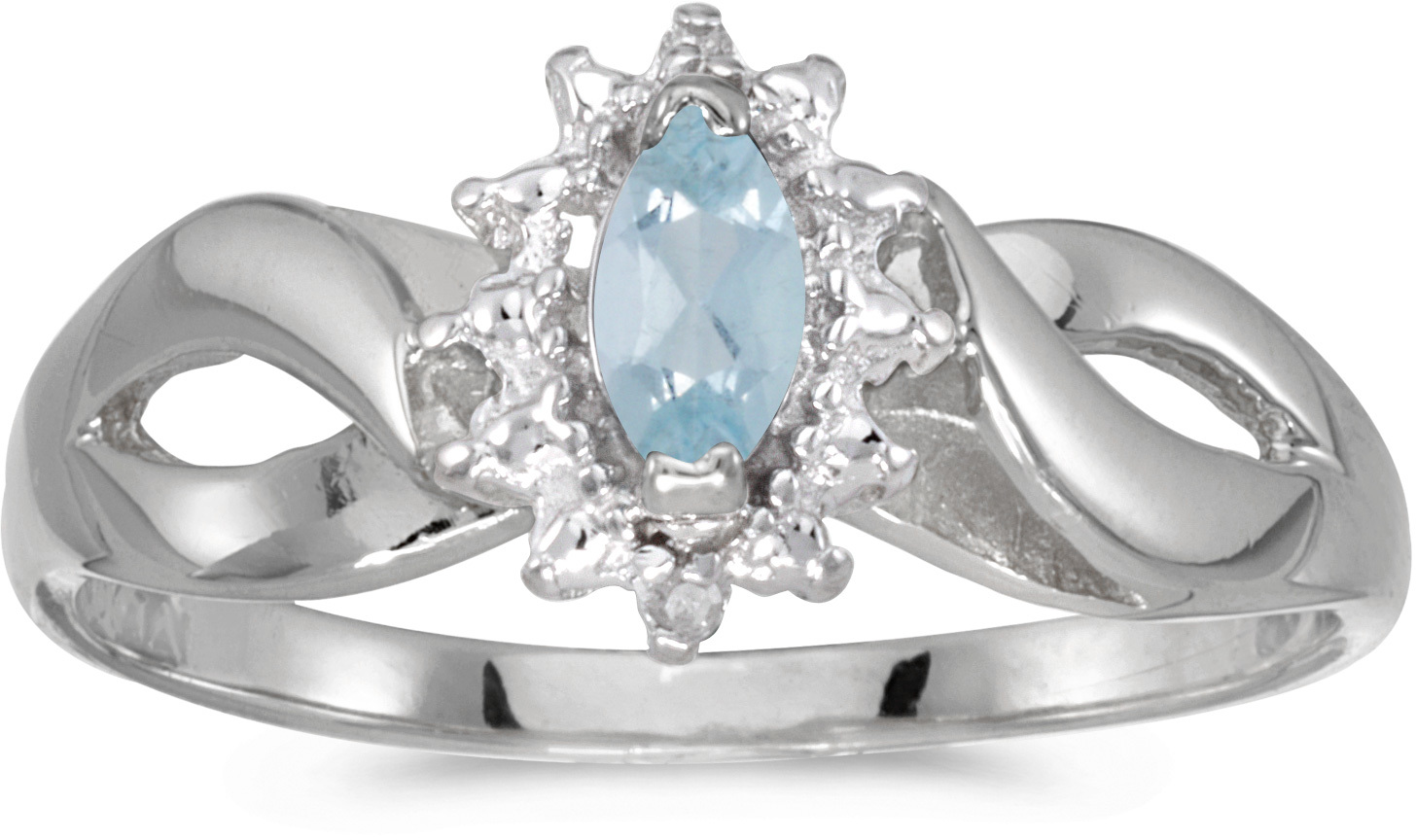 10k White Gold Marquise Aquamarine And Diamond Ring (CM-RM1050W-03)