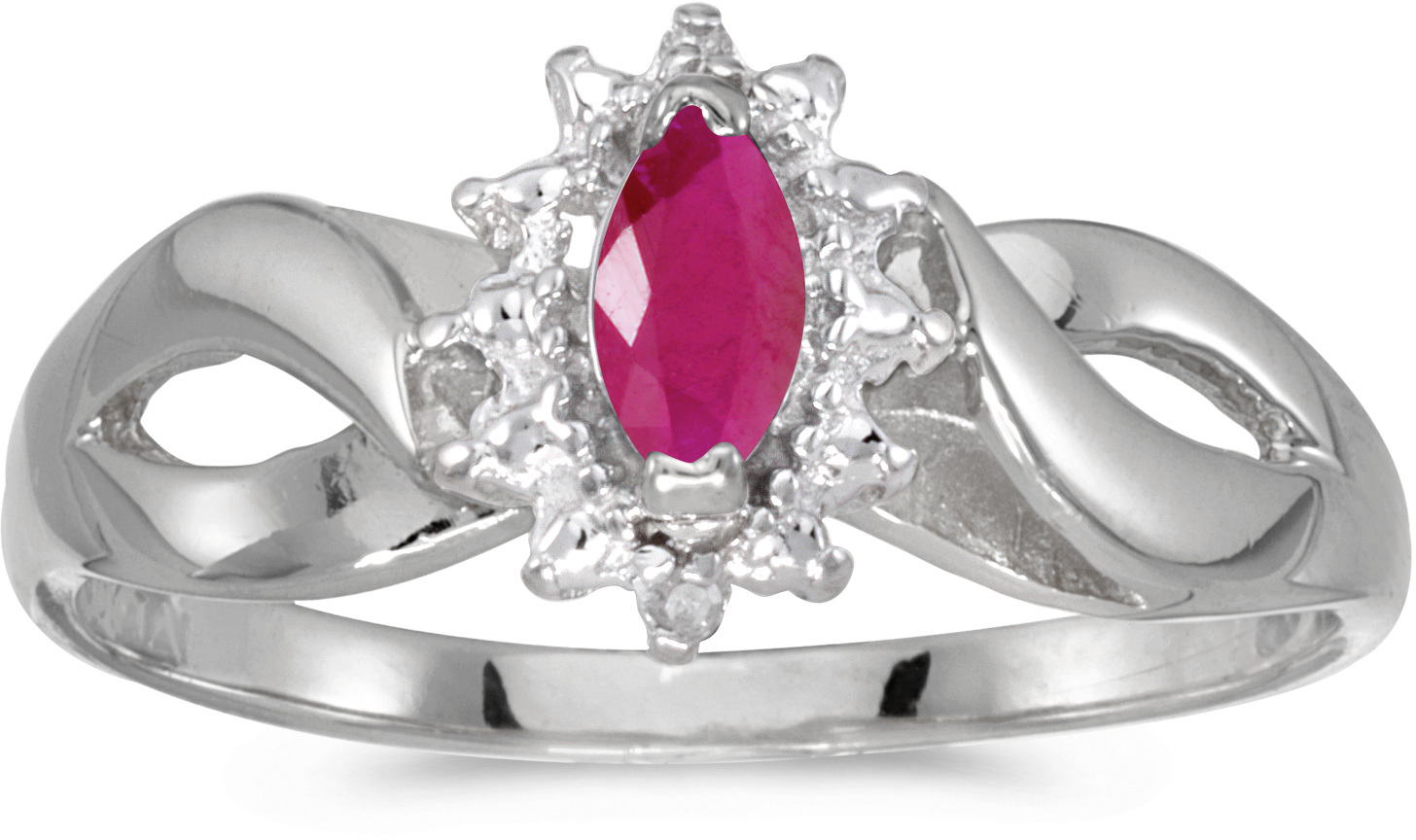 10k White Gold Marquise Ruby And Diamond Ring (CM-RM1050W-07)
