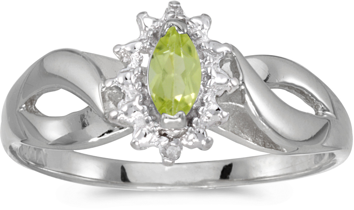 10k White Gold Marquise Peridot And Diamond Ring (CM-RM1050W-08)