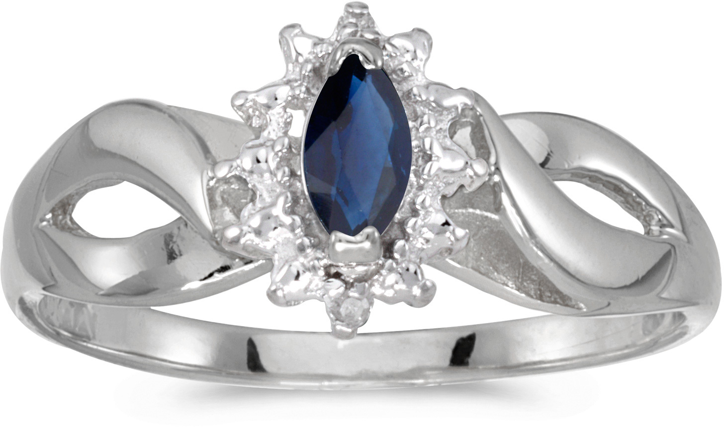 10k White Gold Marquise Sapphire And Diamond Ring (CM-RM1050W-09)
