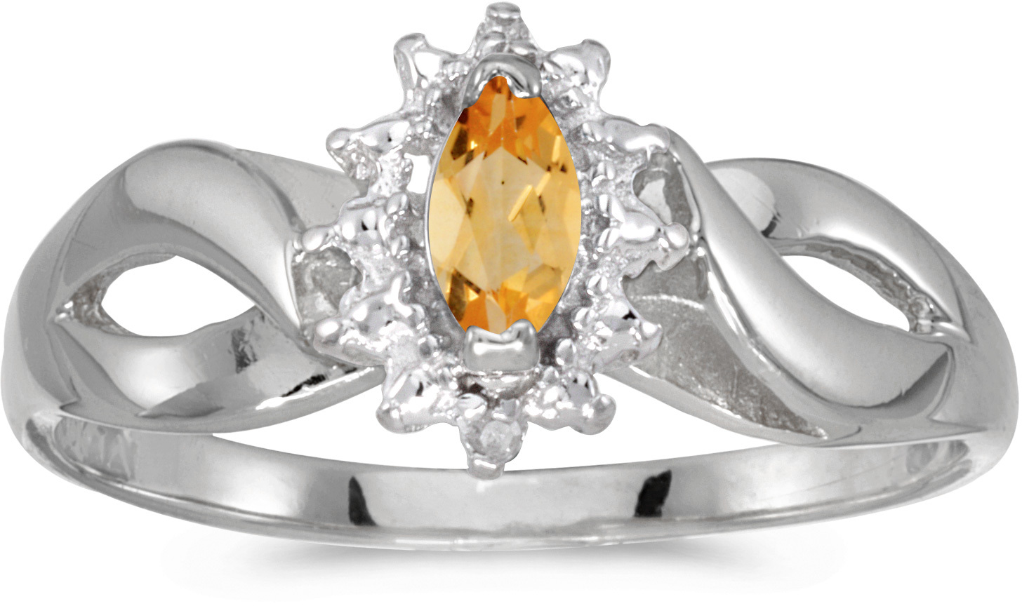 10k White Gold Marquise Citrine And Diamond Ring (CM-RM1050W-11)