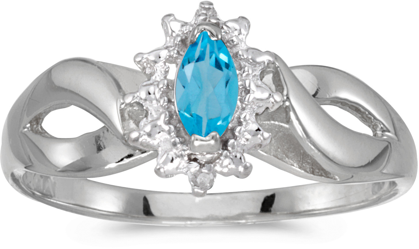 10k White Gold Marquise Blue Topaz And Diamond Ring (CM-RM1050W-12)