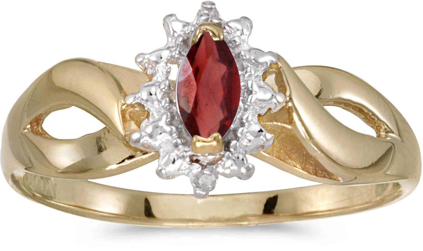 14k Yellow Gold Marquise Garnet And Diamond Ring (CM-RM1050X-01)