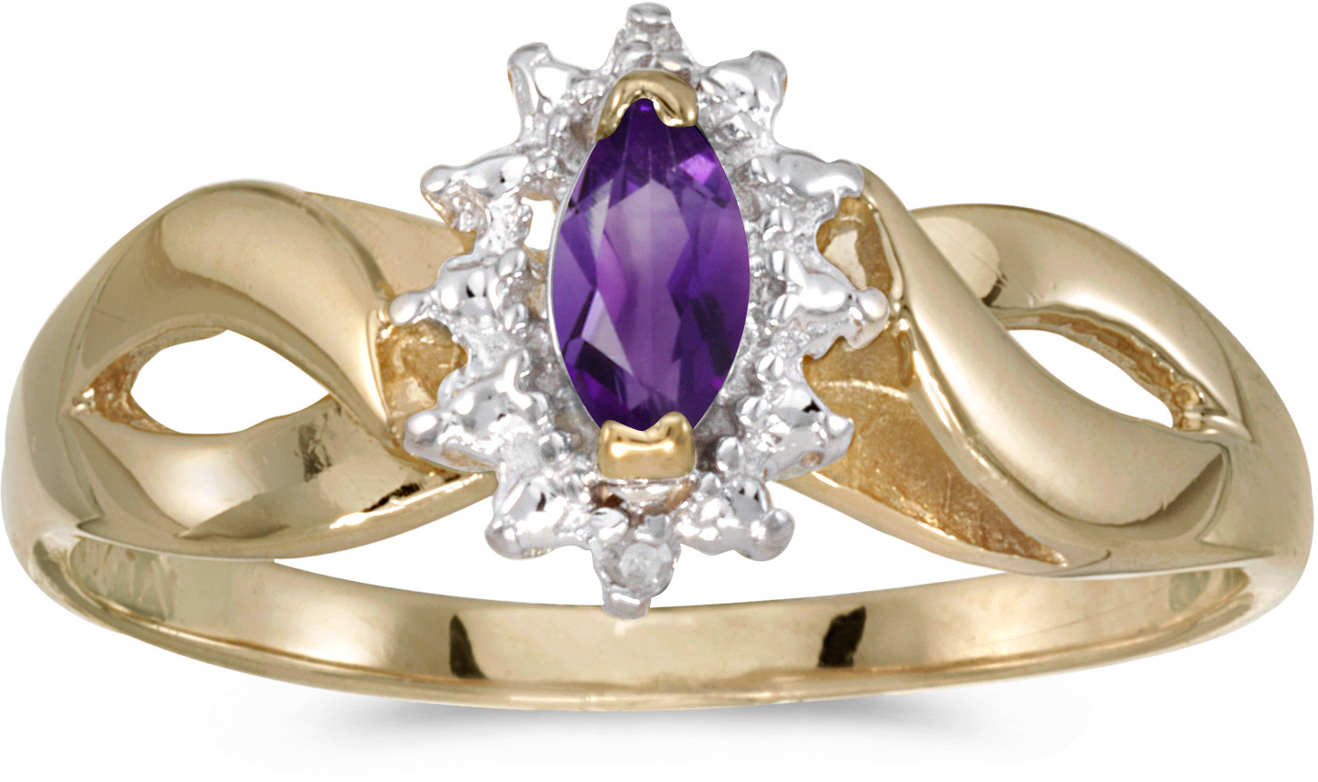 14k Yellow Gold Marquise Amethyst And Diamond Ring (CM-RM1050X-02)