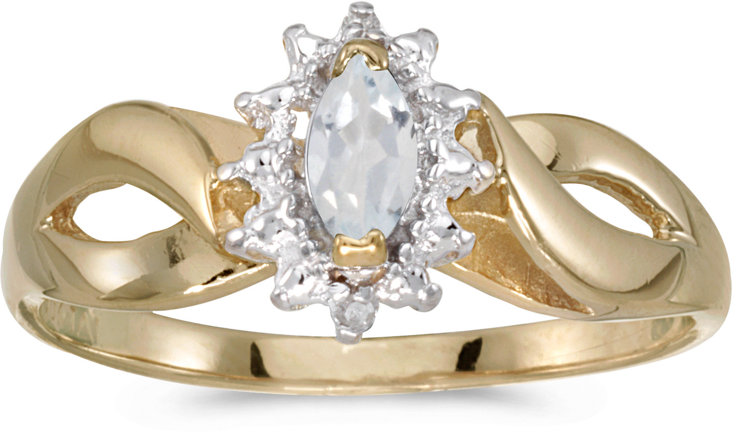 14k Yellow Gold Marquise White Topaz And Diamond Ring (CM-RM1050X-04)