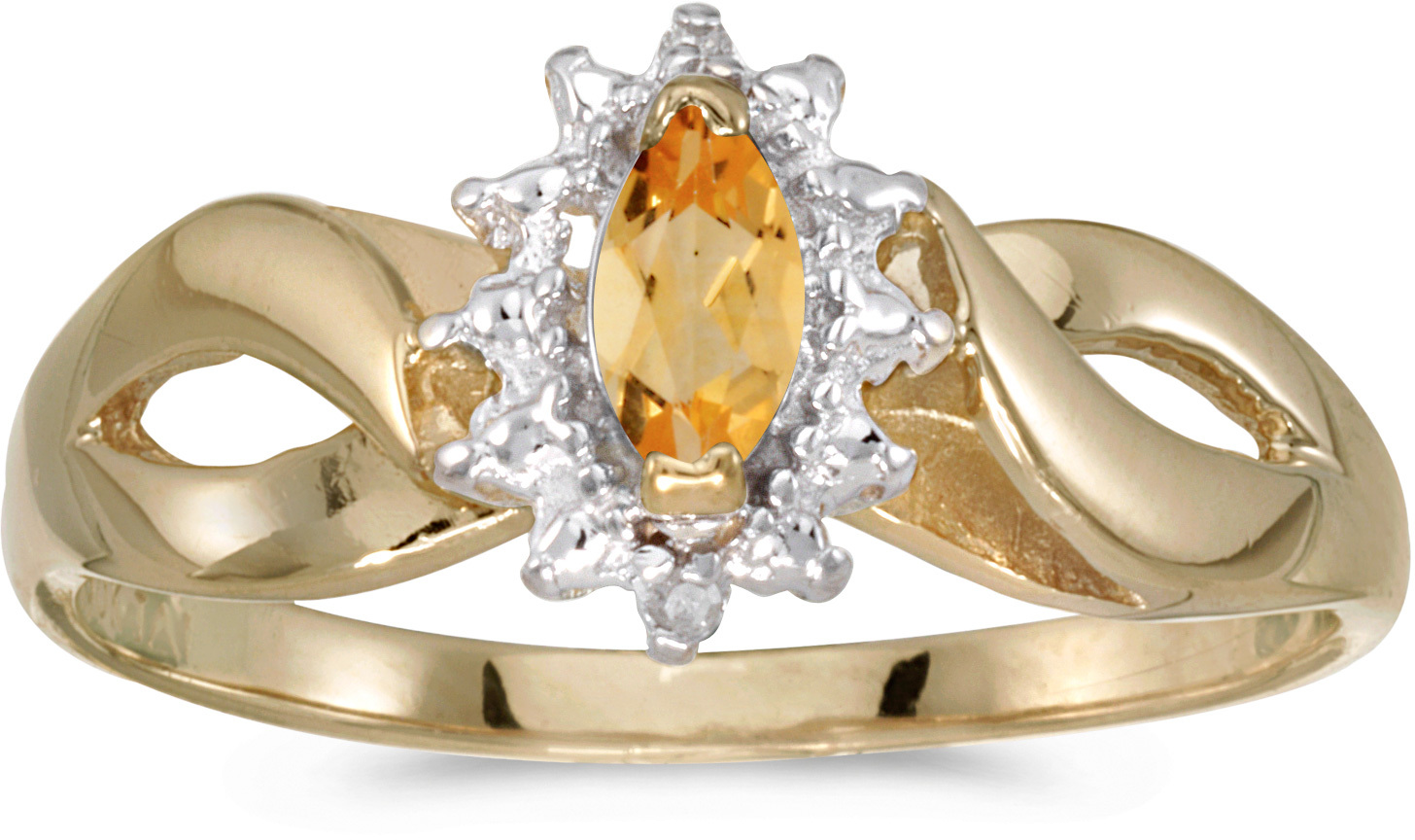 14k Yellow Gold Marquise Citrine And Diamond Ring (CM-RM1050X-11)