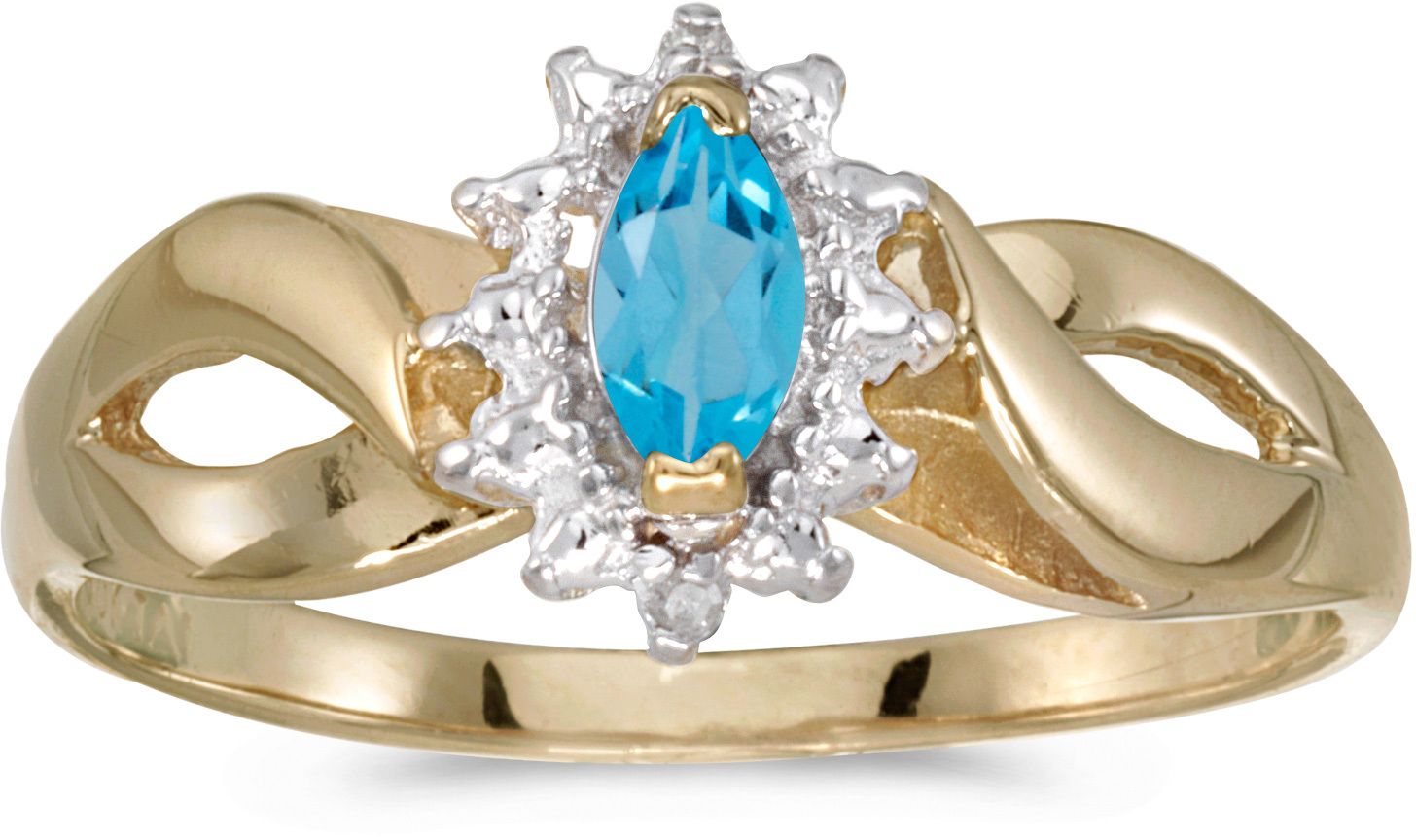 14k Yellow Gold Marquise Blue Topaz And Diamond Ring (CM-RM1050X-12)