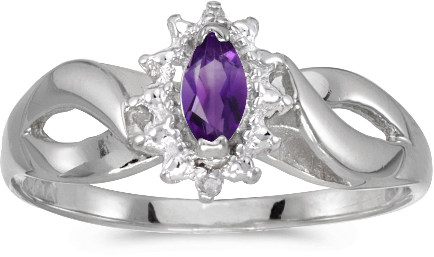 14k White Gold Marquise Amethyst And Diamond Ring (CM-RM1050XW-02)