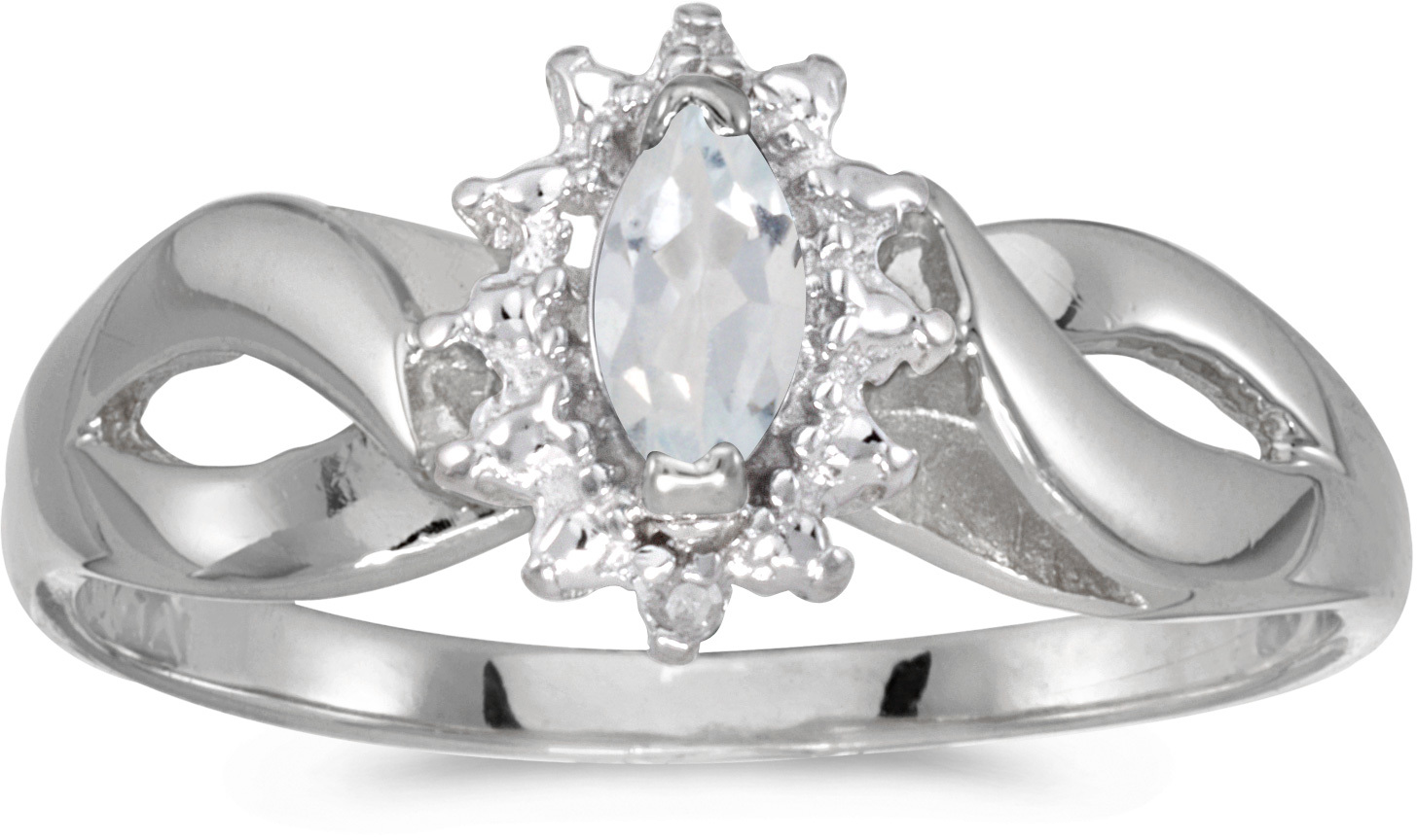 14k White Gold Marquise White Topaz And Diamond Ring (CM-RM1050XW-04)