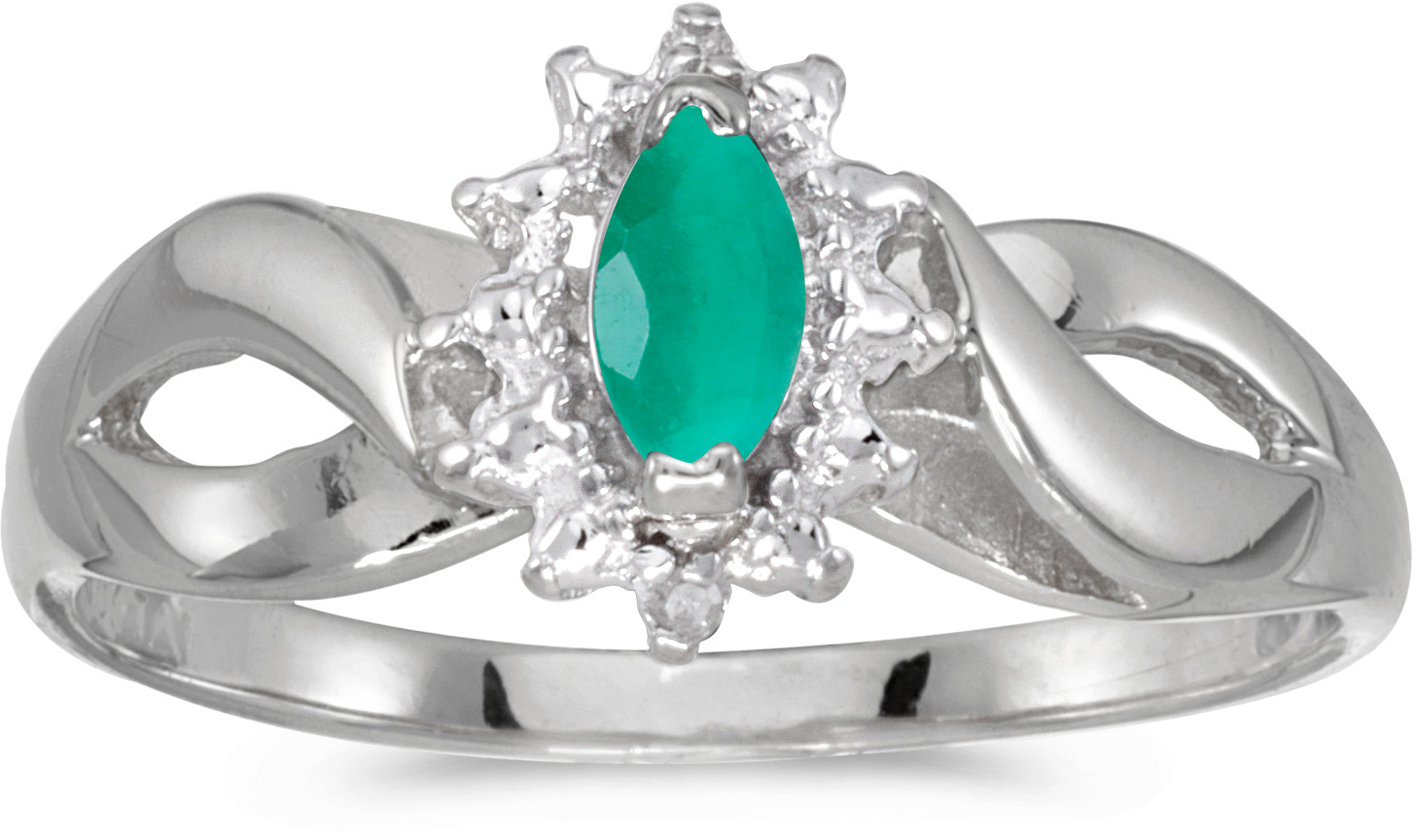 14k White Gold Marquise Emerald And Diamond Ring (CM-RM1050XW-05)