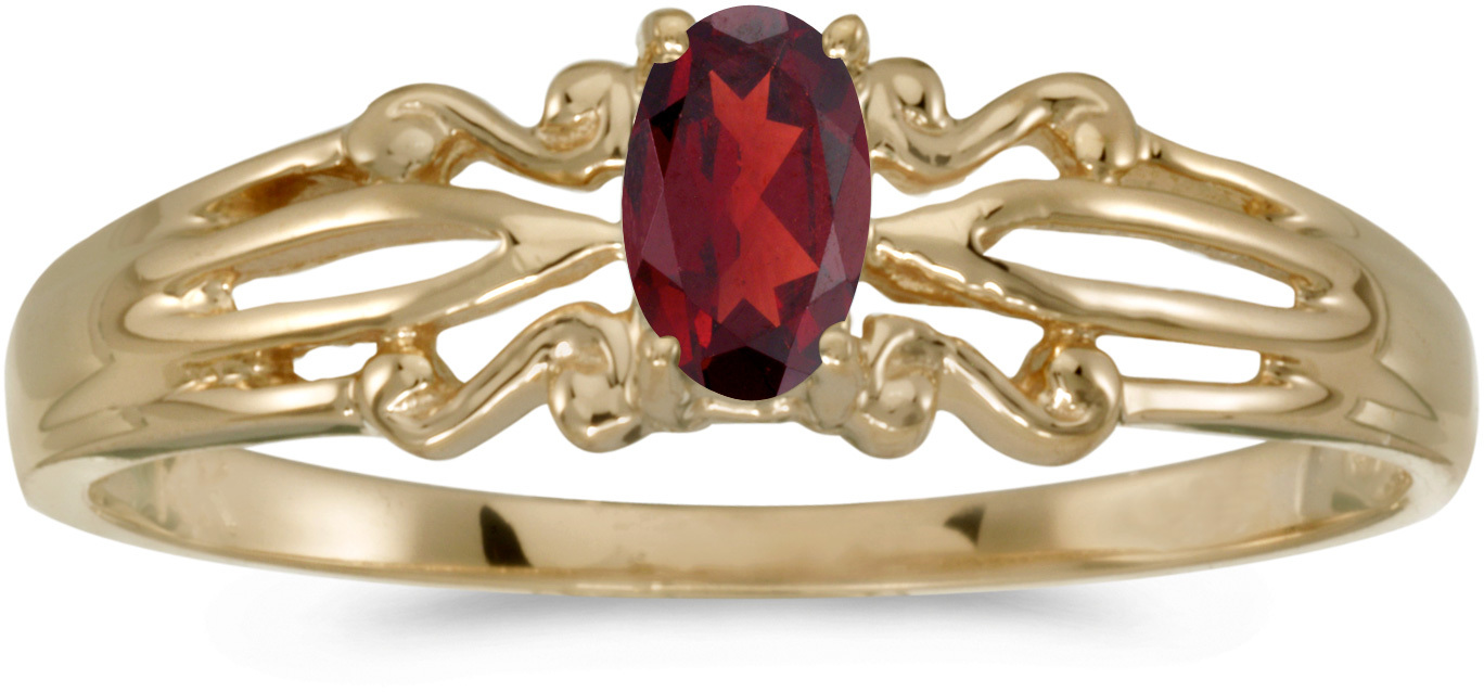 10k Yellow Gold Oval Garnet Ring (CM-RM1058-01)