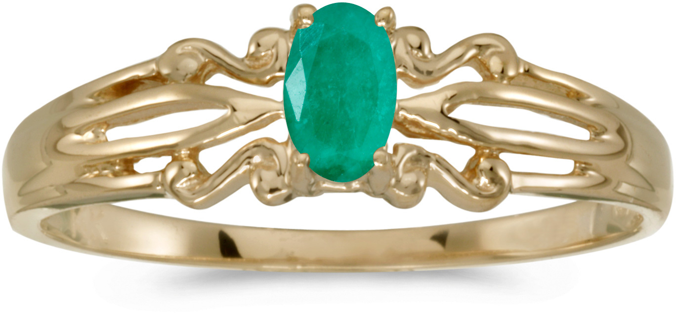 10k Yellow Gold Oval Emerald Ring (CM-RM1058-05)