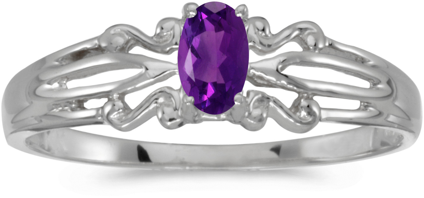 10k White Gold Oval Amethyst Ring (CM-RM1058W-02)