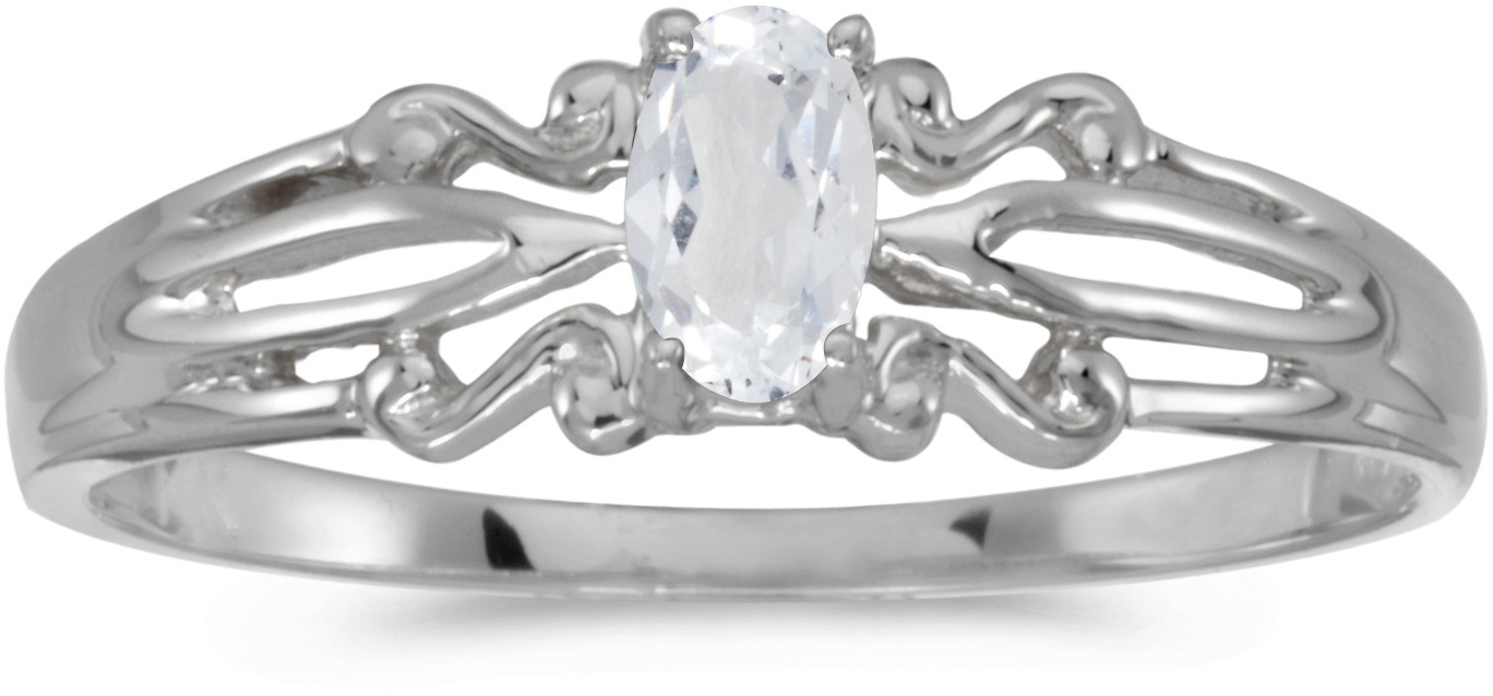 10k White Gold Oval White Topaz Ring (CM-RM1058W-04)