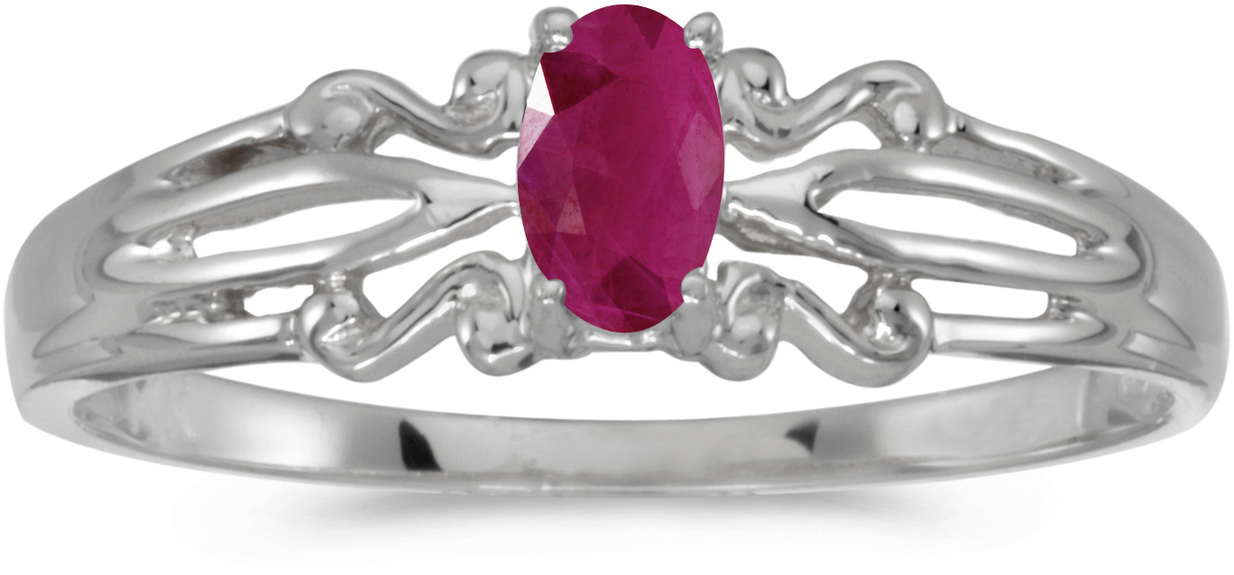 10k White Gold Oval Ruby Ring (CM-RM1058W-07)