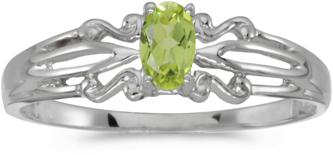 10k White Gold Oval Peridot Ring (CM-RM1058W-08)