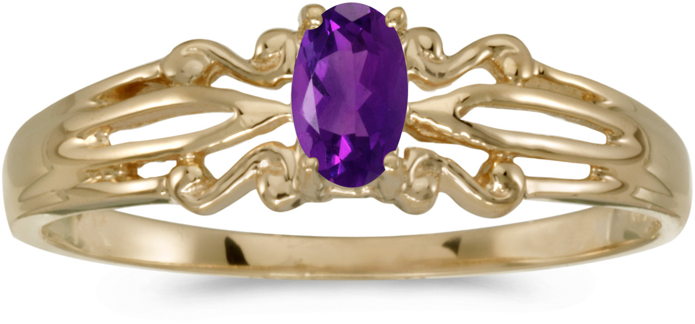 14k Yellow Gold Oval Amethyst Ring (CM-RM1058X-02)
