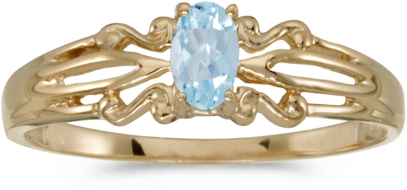14k Yellow Gold Oval Aquamarine Ring (CM-RM1058X-03)