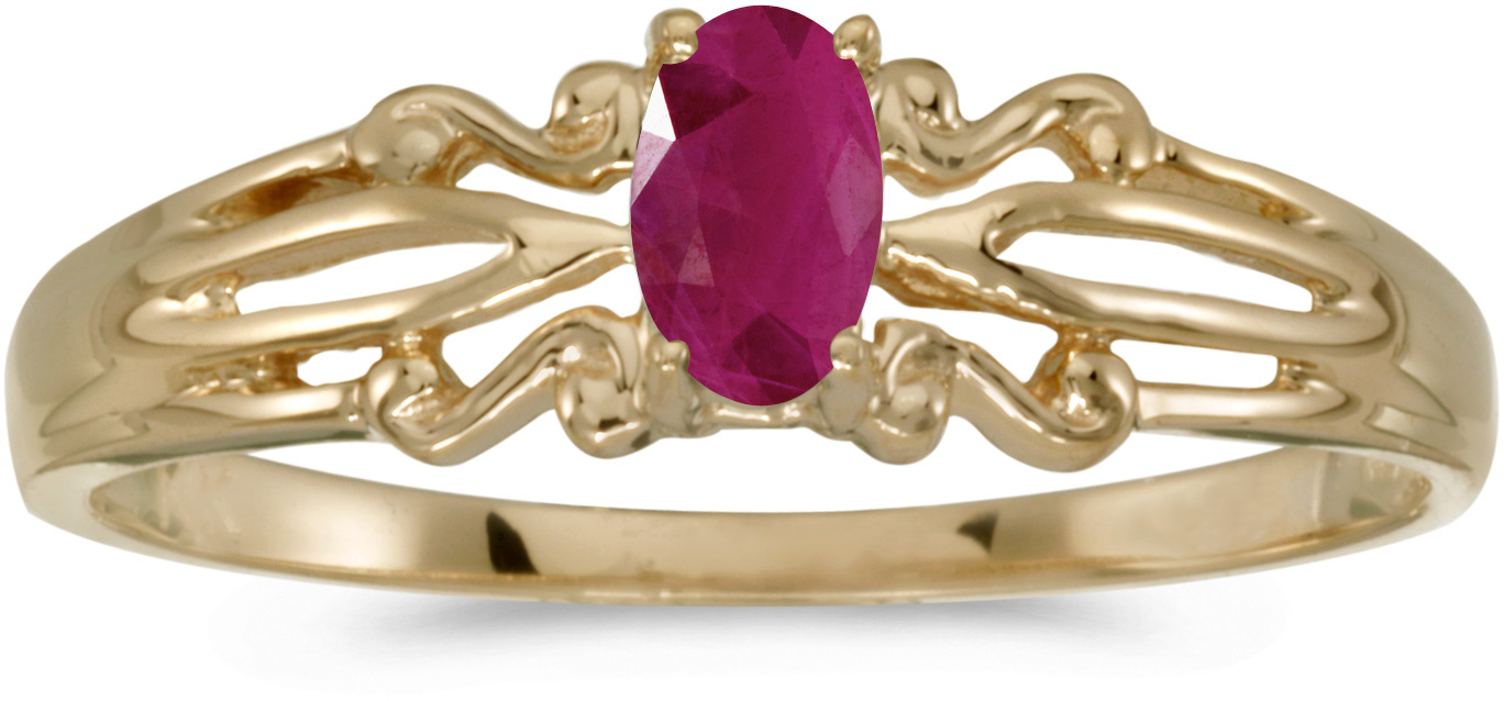 14k Yellow Gold Oval Ruby Ring (CM-RM1058X-07)
