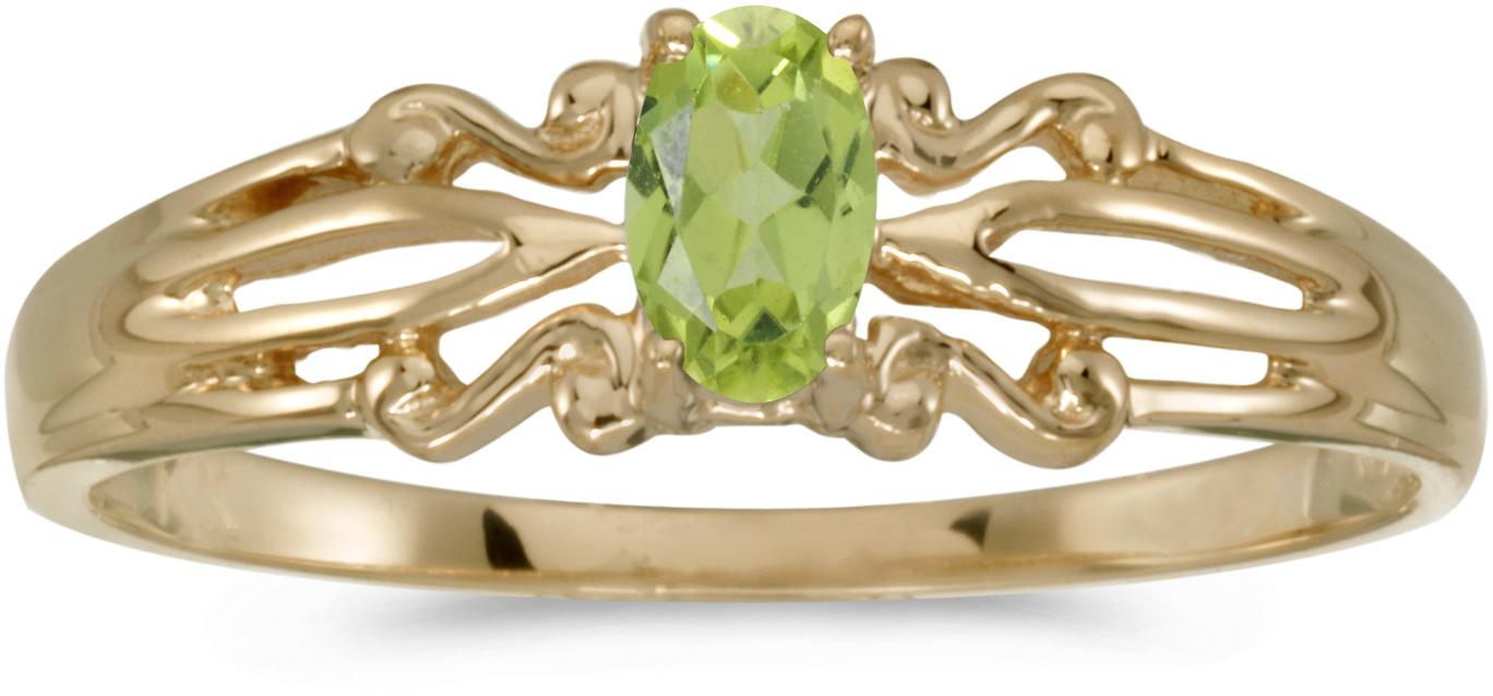 14k Yellow Gold Oval Peridot Ring (CM-RM1058X-08)